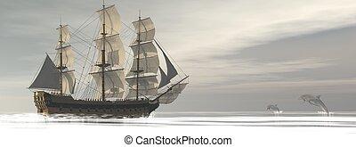 kereskedelmi, öreg, render, -, hajó, delfinek, 3