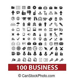 kereskedelmi ügynökség, állhatatos, ikonok, vektor, cégtábla, 100