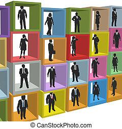 kereskedelmi ügynökség, emberek, dobozok, hálófülke, erőforrás