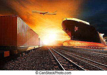 kereskedelmi, alkalmaz, konténer, felül, rakomány, iparág, repülés, háttér, rév, repülőgép, munkaszervezési, kíséret, szállítás, rakomány hajó