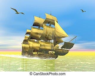 kereskedelmi, arany-, öreg, render, -, hajó, 3