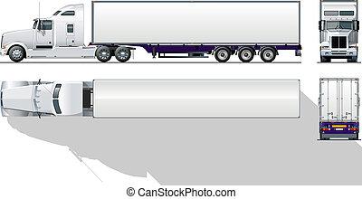 kereskedelmi, hi-detailed, semi-truck