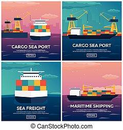 kereskedelmi, rakomány, állhatatos, szállítás, illustration., marine., tengeri, ship., vektor, lakás, freight., tenger, logistic., shipping.