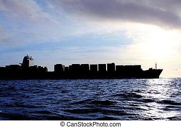 kereskedelmi, rakomány, fény, napfény, hát, tenger, hajó