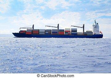 kereskedelmi, rakomány, vitorlázás, blue óceán, tenger, hajó