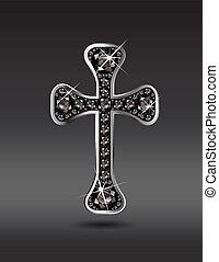 keresztény, ónix, kereszt