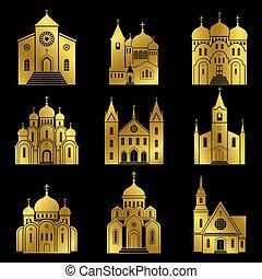 keresztény, arany, ikonok, black háttér, templom
