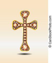 keresztény, arany, sárga, kereszt