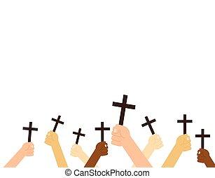 keresztény, birtok, -, elszigetelt, ábra, kereszt, vektor, háttér, kézbesít, fehér