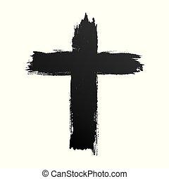 keresztény, egyszerű, kereszt, kezezés cégtábla, fekete, húzott, ikon, grunge, hand-painted