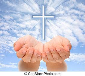 keresztény, fény, felett, kézbesít, ég, kereszt, birtok, lokátorral helyet határoz meg