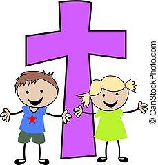 keresztény, gyerekek, kereszt