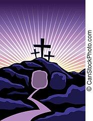 keresztény, háttér, húsvét, ábra