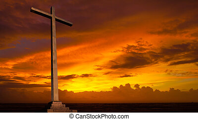 keresztény, háttér., sky., kereszt, vallás, napnyugta