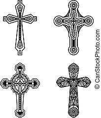 keresztény, ikonok, választékos, kereszt