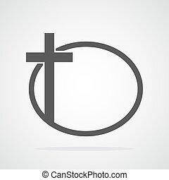 keresztény, illustration., kereszt, vektor, fekete, icon.