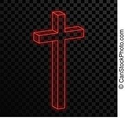 keresztény, illustration., neon, háttér., áttetsző, kereszt, piros, izzó, vektor
