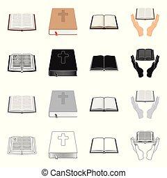 keresztény, jámbor, jelkép, cél, web., elszigetelt, gyűjtés, könyv, logo., részvény