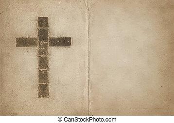 keresztény, könyv, öreg, kereszt