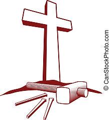 keresztény, kalapács, kereszt