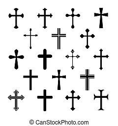 keresztény, kereszt, állhatatos, fehér, ikonok, háttér.