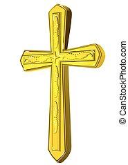 keresztény, kereszt, arany