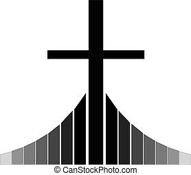keresztény, kereszt, fekete, golgota