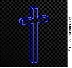 keresztény, neon, kék, háttér., áttetsző, kereszt, izzó