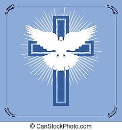 keresztény, repülés, kereszt, vektor, fehér galamb