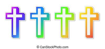 keresztény, színes, kereszt, állhatatos, icons.