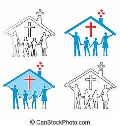 keresztény, színezett, family., tölt, áttekintés