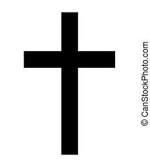 keresztény, vallás, ábra, fehér, kereszt, elszigetelt, icon., háttér., vektor
