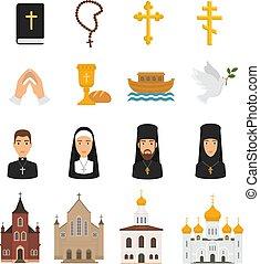 kereszténység, biblia, keresztény, krisztus, ikonok, isten, kézbesít, cégtábla, kereszt, ábra, elszigetelt, jelkép, vallás, vektor, bizalom, háttér, templom, fehér, imádkozás, vallásos