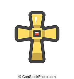 kereszténység, ikon, kereszt, ábra, vektor, karikatúra, arany-, jelkép