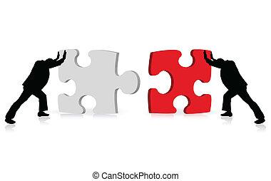 keresztül, ügy, siker, rejtvény, illusztrált, fogalom, teljesítés, togetherness