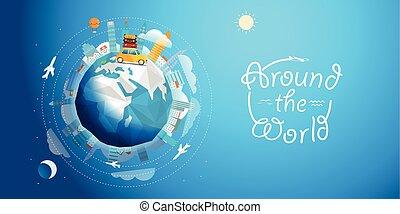 keresztül, vektor, világ, autó., kirándulás, utazás, ábra, fogalom