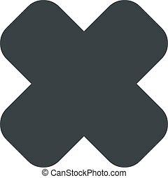 kereszt, ábra, háttér., vektor, fekete, fehér, ikon