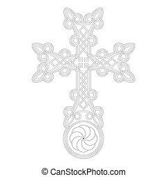 kereszt, örmény, khachkar., vektor, ikon, jelkép, megkövez, ősi