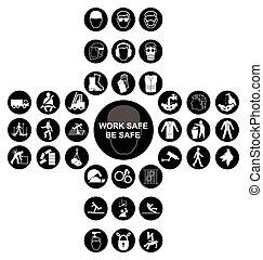 kereszt alakú, gyűjtés, egészség, biztonság, fekete, ikon