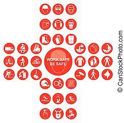 kereszt alakú, gyűjtés, egészség, biztonság, piros, ikon