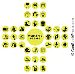 kereszt alakú, gyűjtés, egészség, sárga, biztonság, ikon