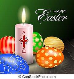 kereszt, alfa, húsvét, gyertya, gyakorlatias, asztal, év, 2020, többszínű, fából való, égető, derékszögben, zenemű, omega, ikra