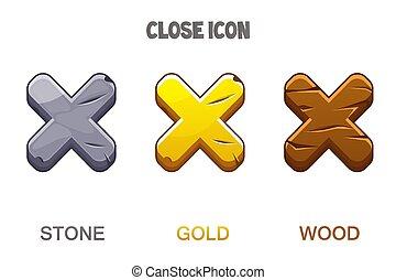 kereszt, fából való, állhatatos, arany-, megkövez, becsuk, ikonok, mark.