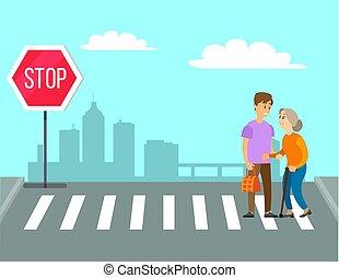 kereszt, gyalogos, felszolgál, nagymama, út, önként felajánl