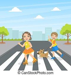 kereszt, gyerekek, csinos, utca, kutya, gyerekek, utca, használ, vektor, jár, gyalogló, ábra