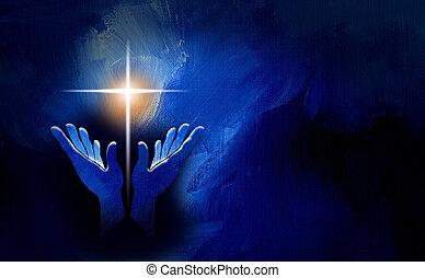 kereszt, keresztény, kézbesít, háttér, dicsér, grafikus