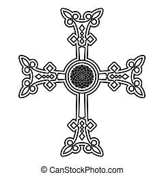 kereszt, megkövez, örmény, jelkép, ikon, vektor, ősi, khachkar.