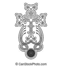 kereszt, megkövez, jelkép, örmény, vektor, ősi, ikon, khachkar.
