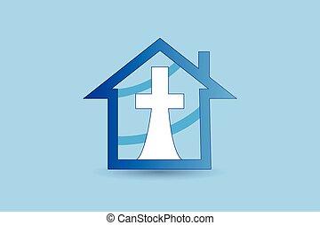 kereszt, nagy, jel, templom