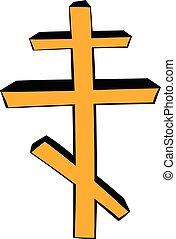 kereszt, ortodox, karikatúra, ikon